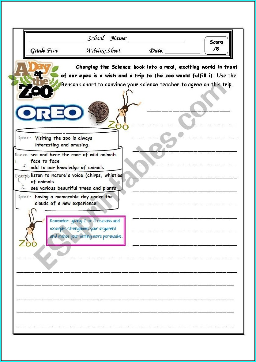 Persuasive Writing Worksheet Grade 4