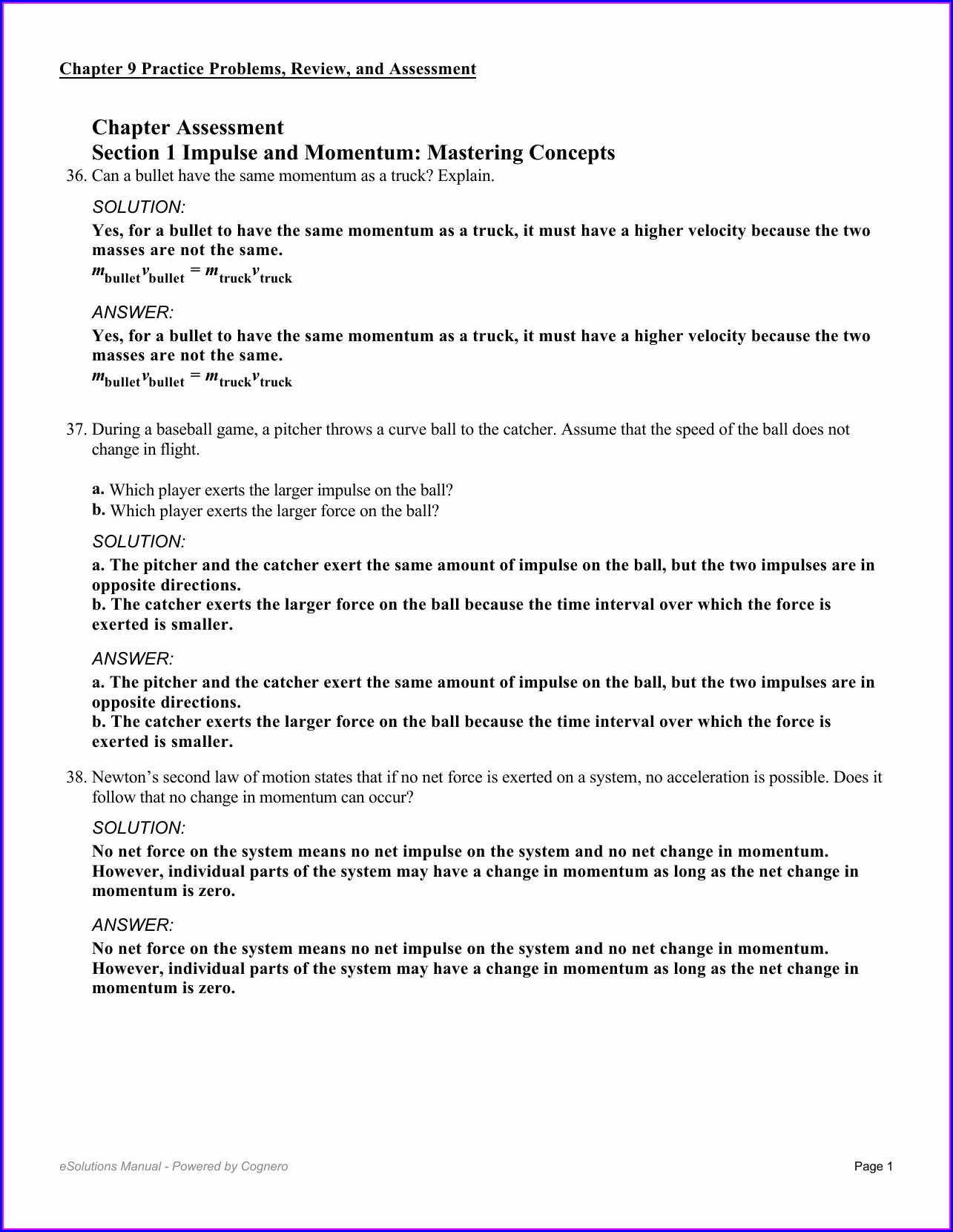 Physical Science Momentum Worksheet Answers