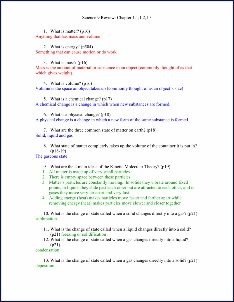Physical Science States Of Matter Worksheet Answers