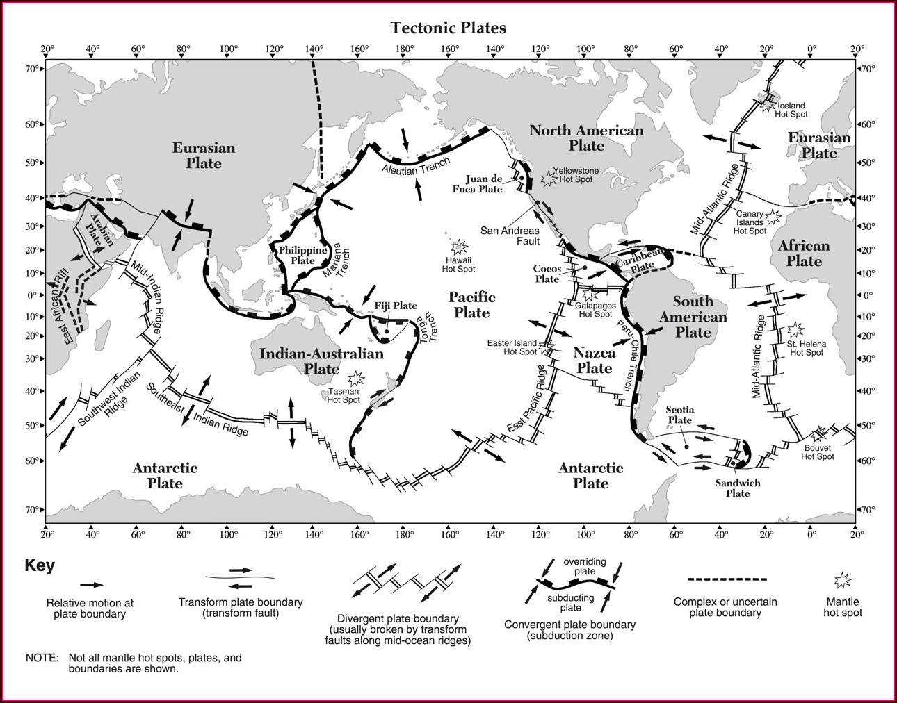 Plate Boundaries Map Worksheet