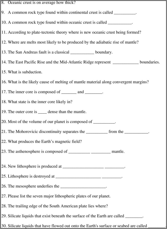 Plate Boundaries Worksheet Middle School Pdf