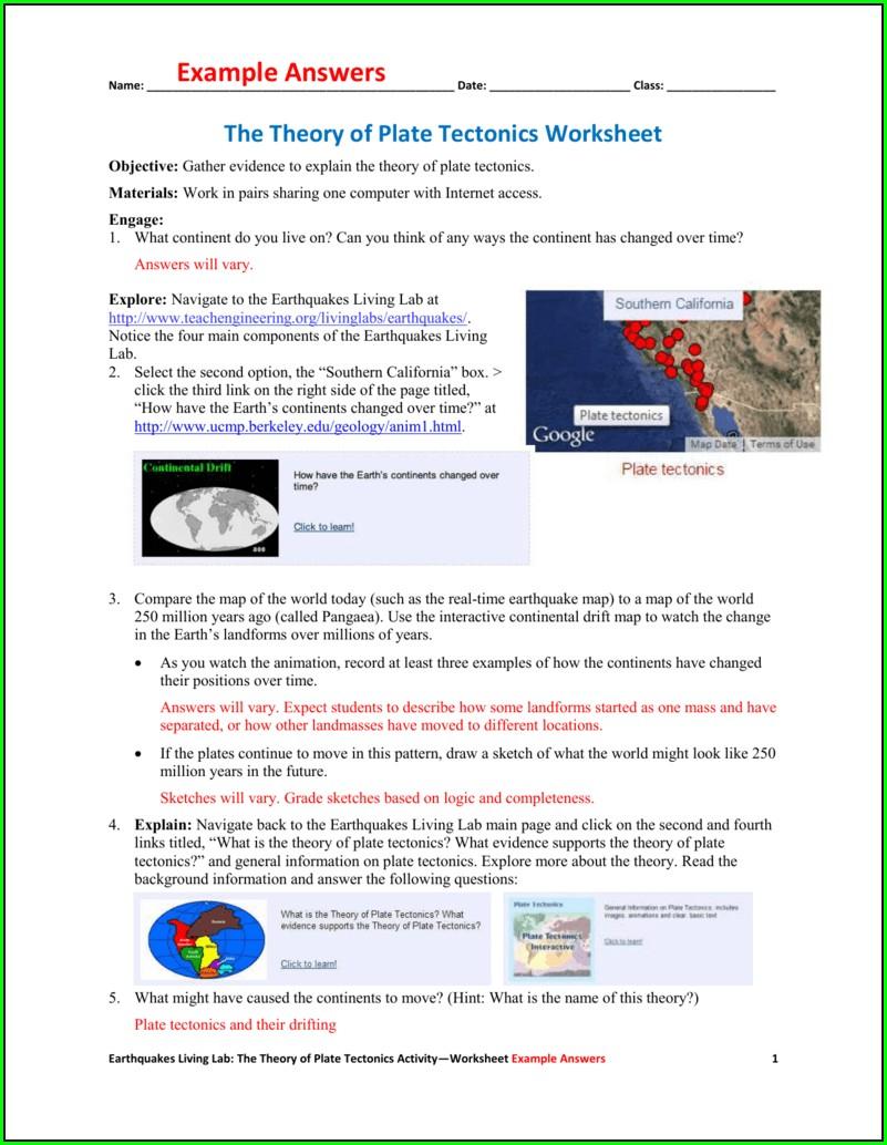 Plate Tectonics And Earthquakes Worksheet