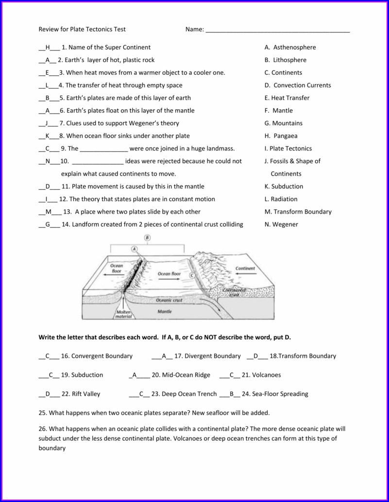 Plate Tectonics Movement Worksheet Answer Key