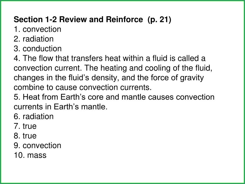 Plate Tectonics Review And Reinforce Worksheet