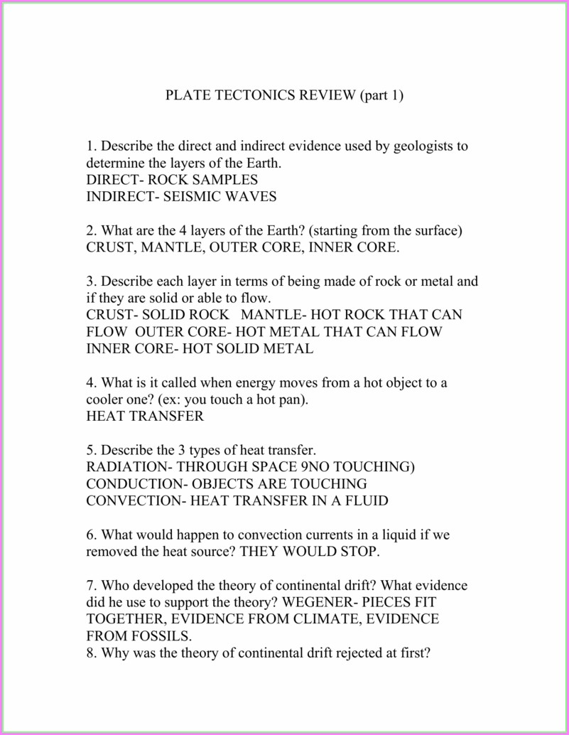 Plate Tectonics Review Worksheet Answer Key