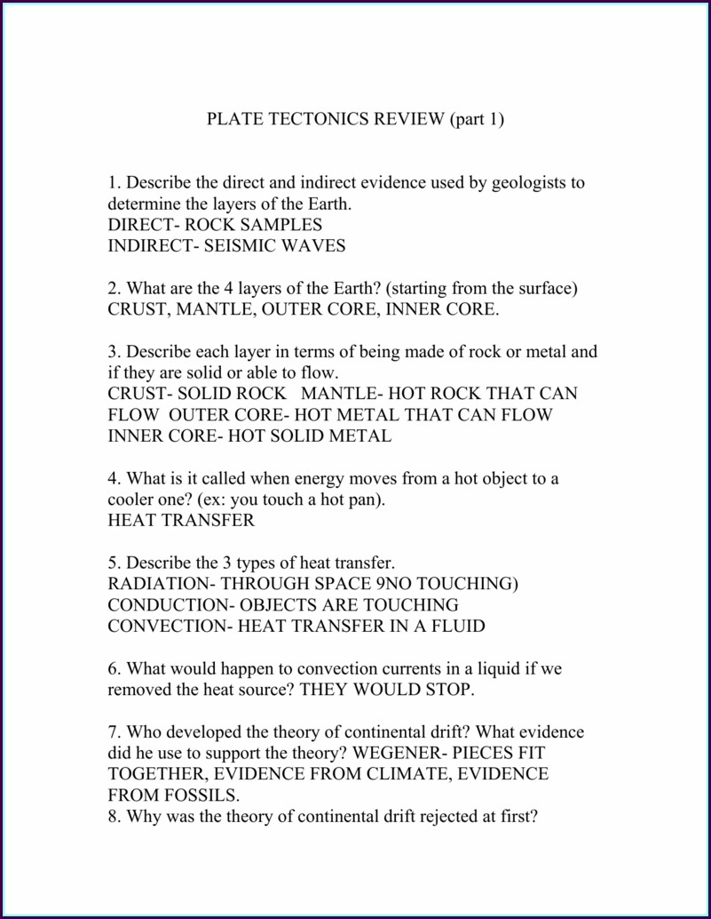 Plate Tectonics Review Worksheet Answers