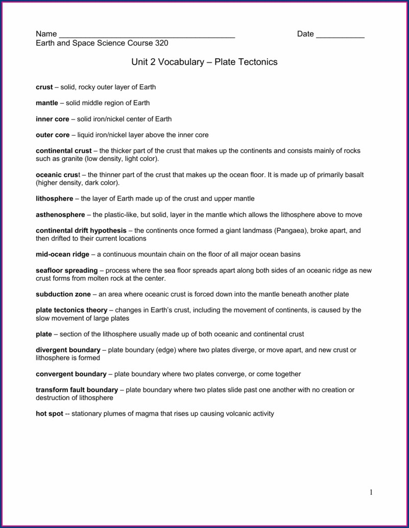 Plate Tectonics Vocabulary Worksheet Answers