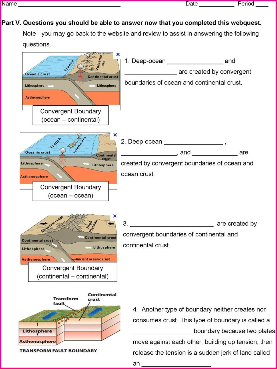 Plate Tectonics Webquest Worksheet Answer Key