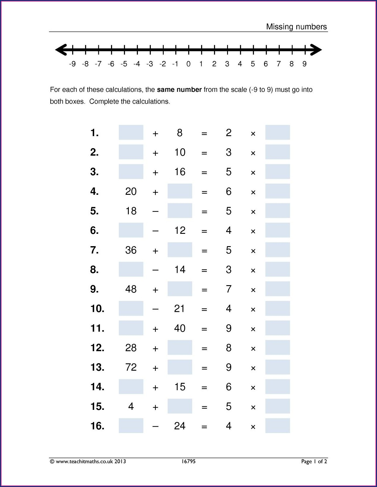 Positive And Negative Numbers Worksheet Ks3