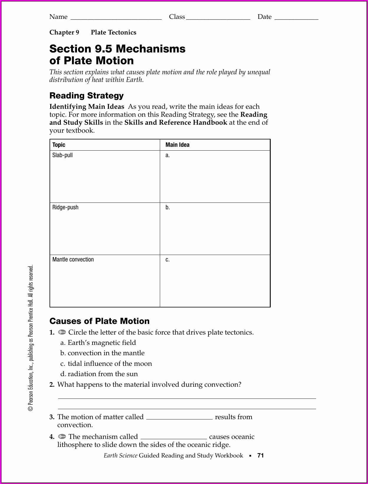 Prentice Hall Plate Tectonics Worksheet