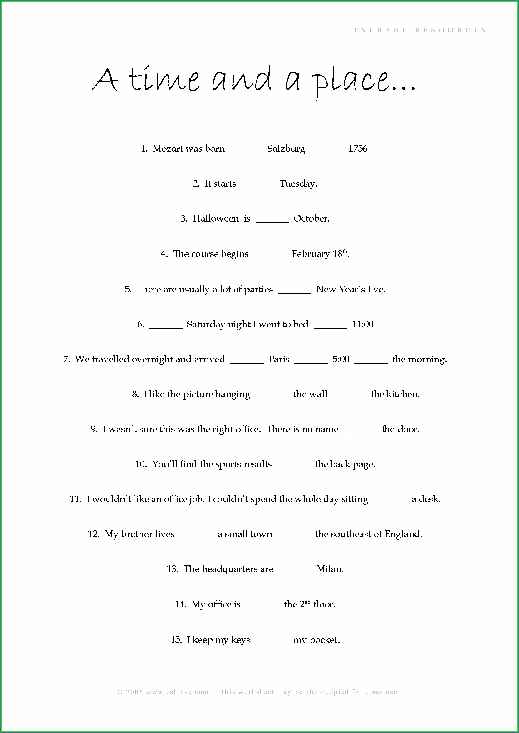 Prepositions Of Time And Place Worksheet Pdf