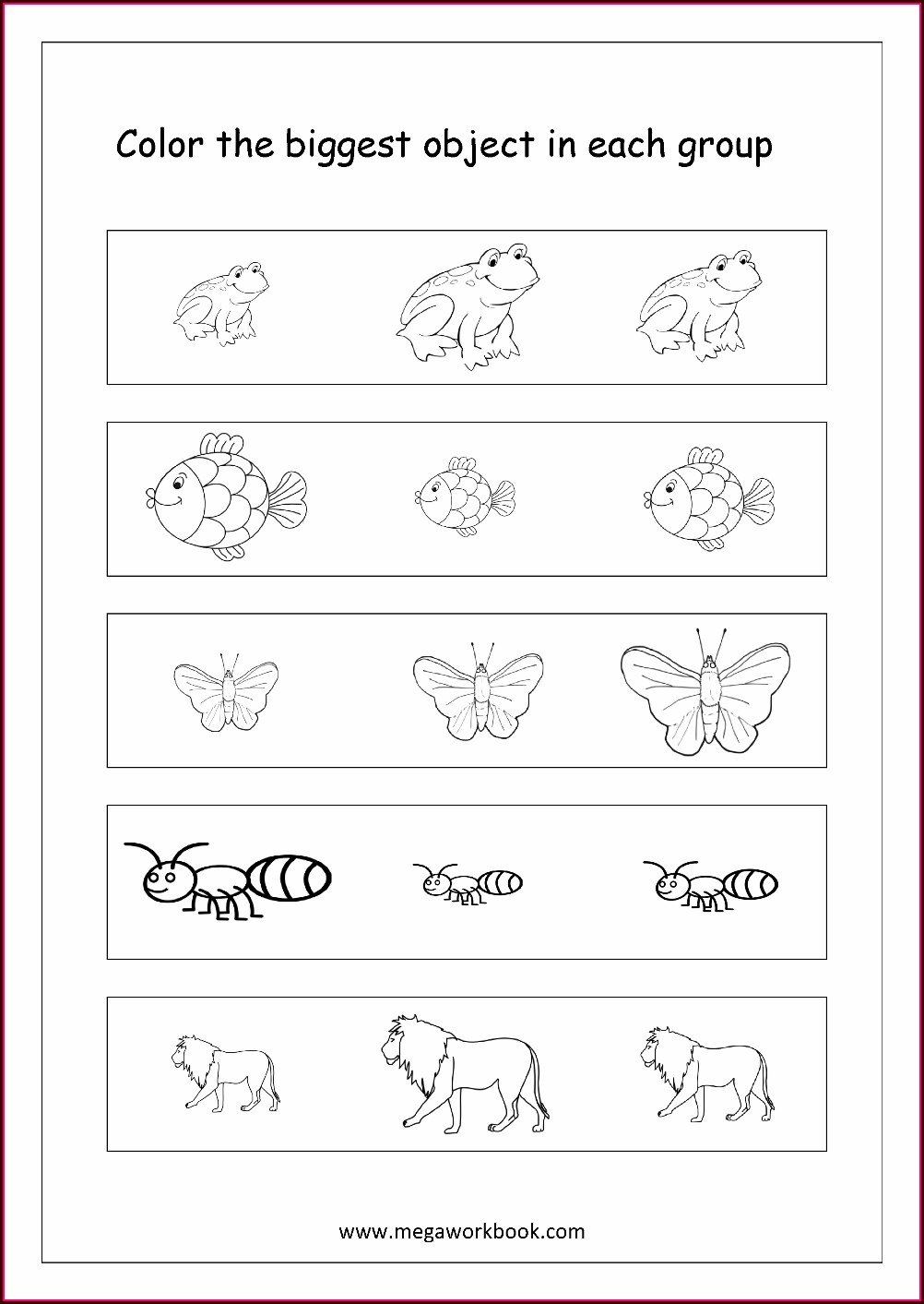 Preschool Big And Small Plants Worksheet For Kindergarten