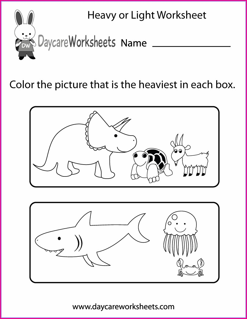 Preschool Heavy And Light Worksheets For Kindergarten