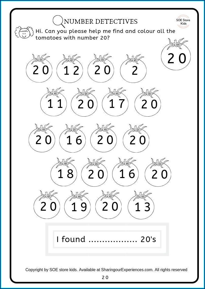 Preschool Number Identification Number Recognition Worksheets