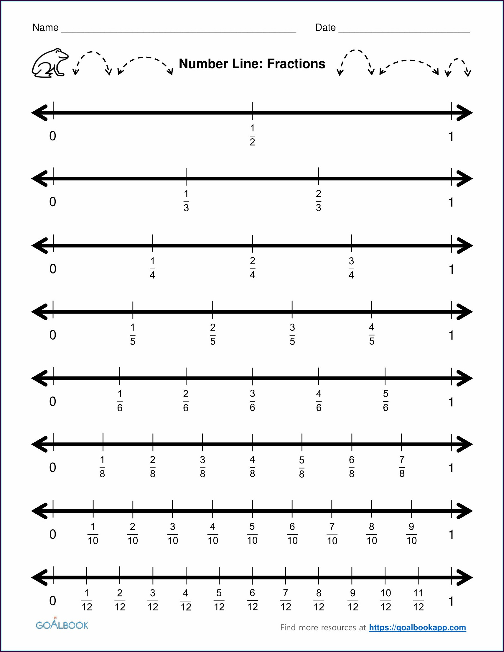 Preschool Number Line Worksheets