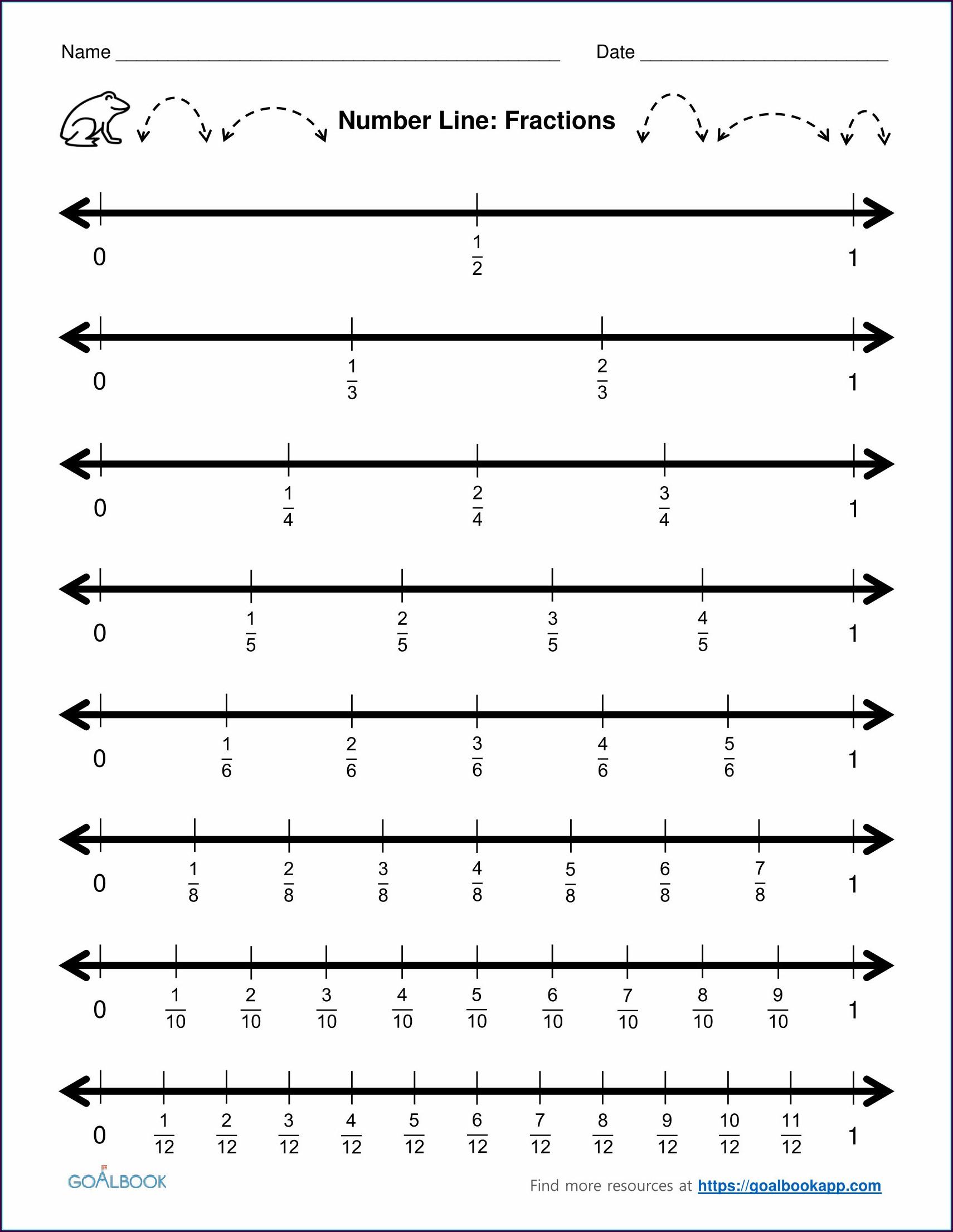Preschool Number Line Worksheets