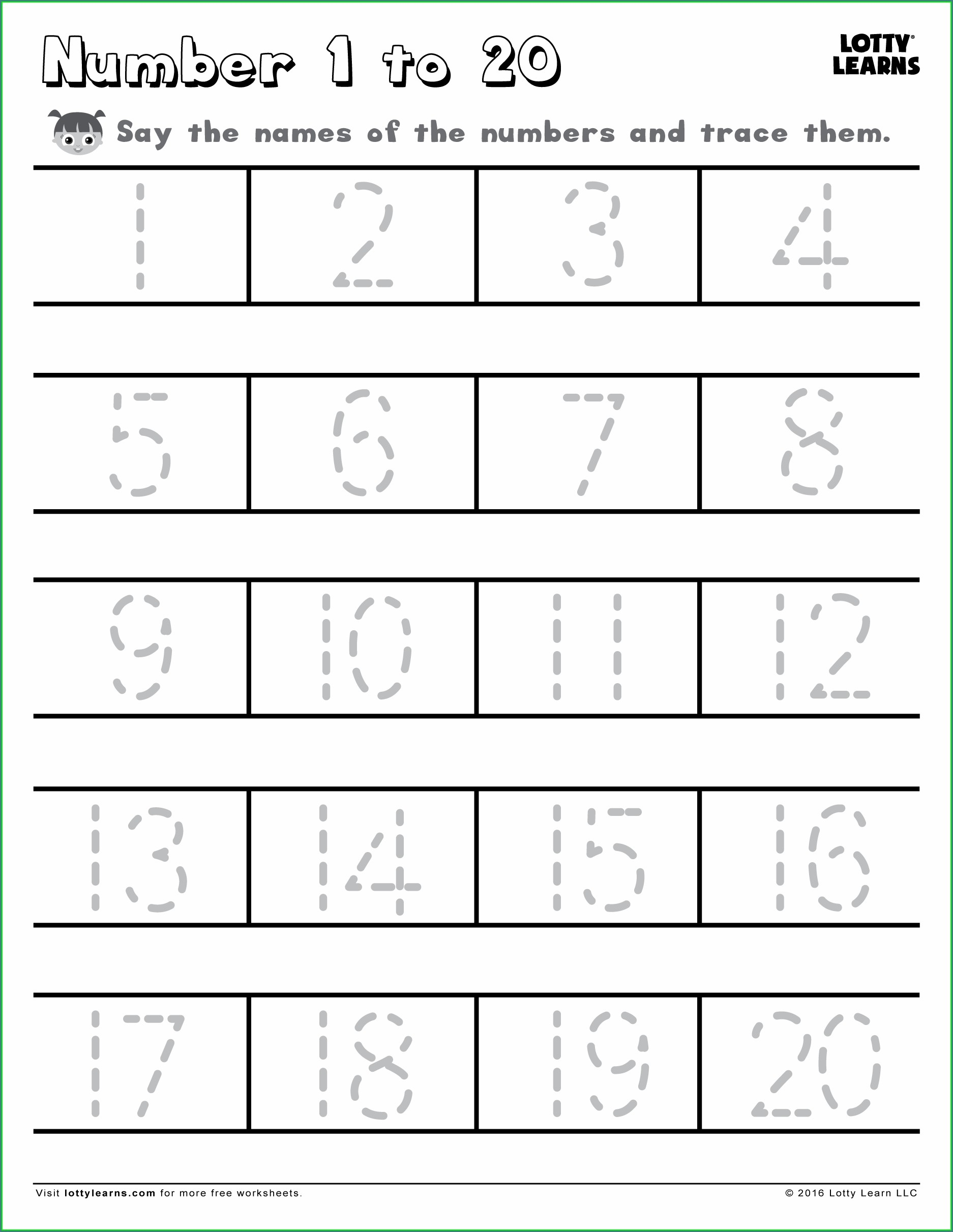 Preschool Number Tracing Worksheets 1 20