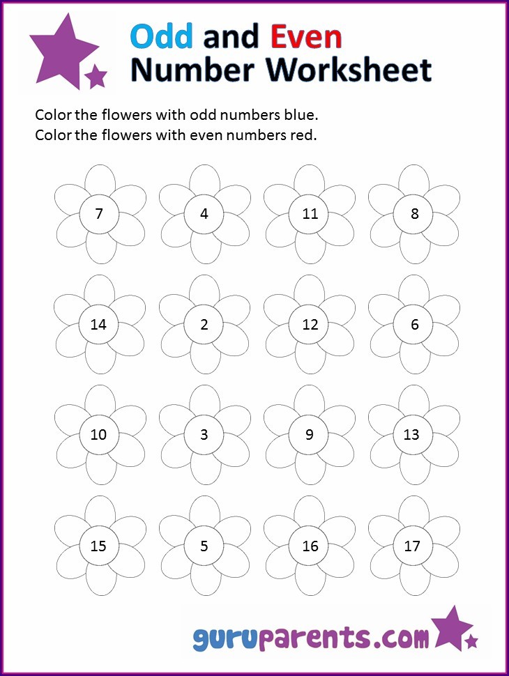 Preschool Odd And Even Numbers Worksheet For Kindergarten