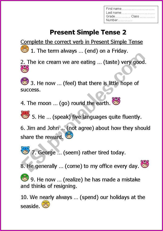 Present Indefinite Tense Worksheet For Grade 5