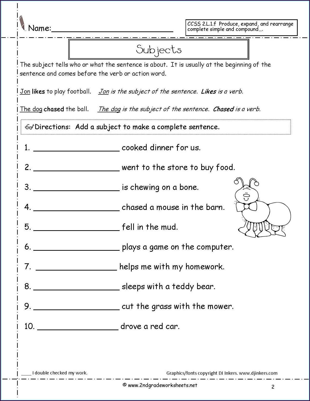 Printable 2nd Grade Grammar Worksheets