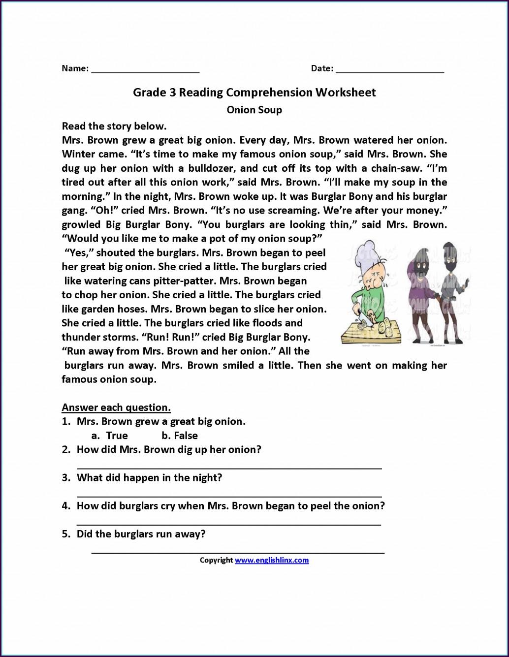 Printable 3rd Grade Comprehension Worksheets