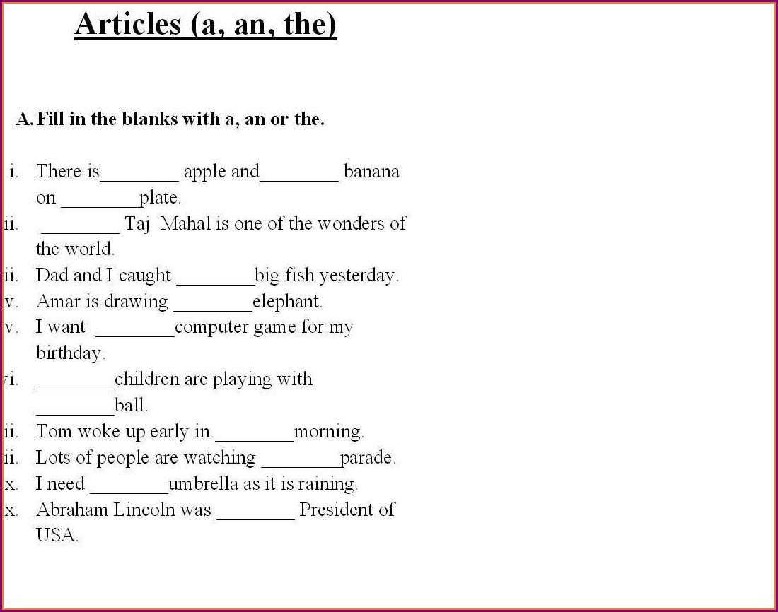 Printable 3rd Grade Grammar Worksheets