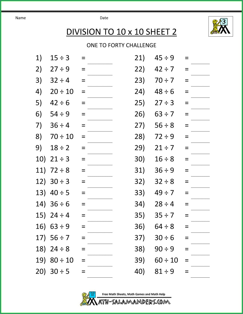 Printable 3rd Grade Math Worksheets Subtraction