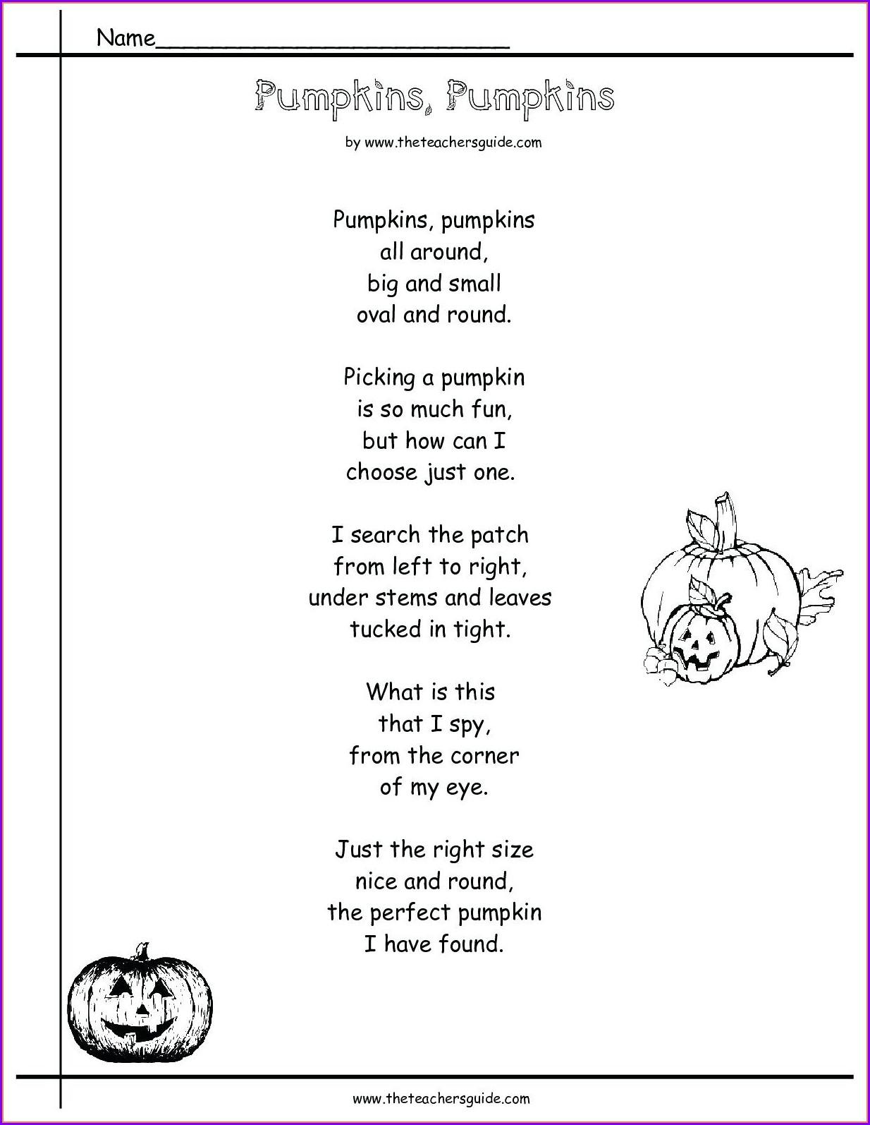 Printable 3rd Grade Poetry Worksheets