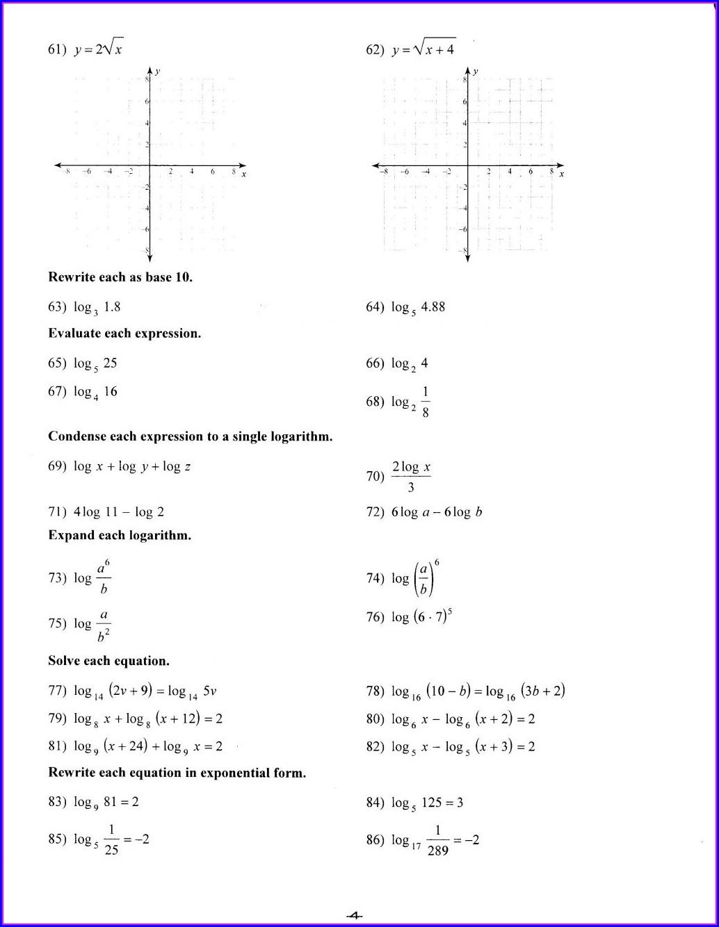 Printable 8th Grade Algebra Worksheets