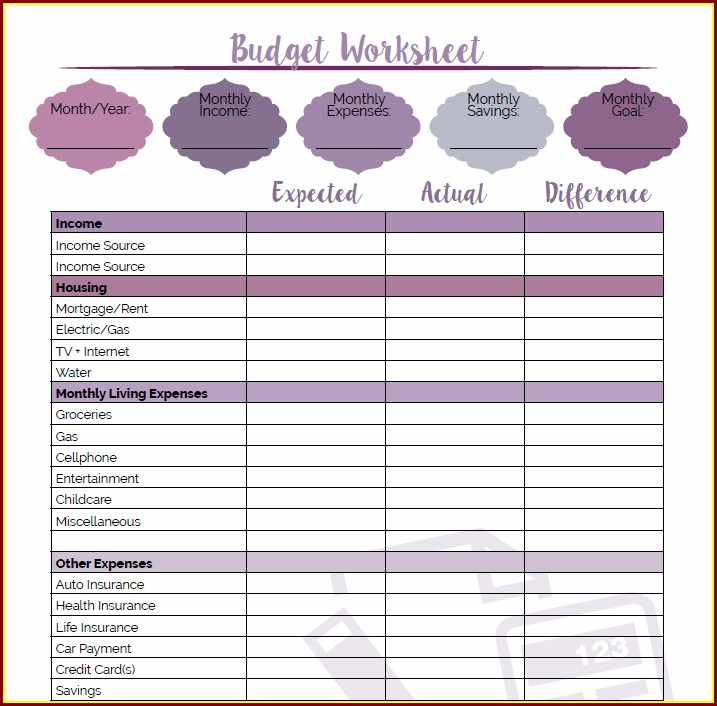Printable Budget Worksheet For Young Adults
