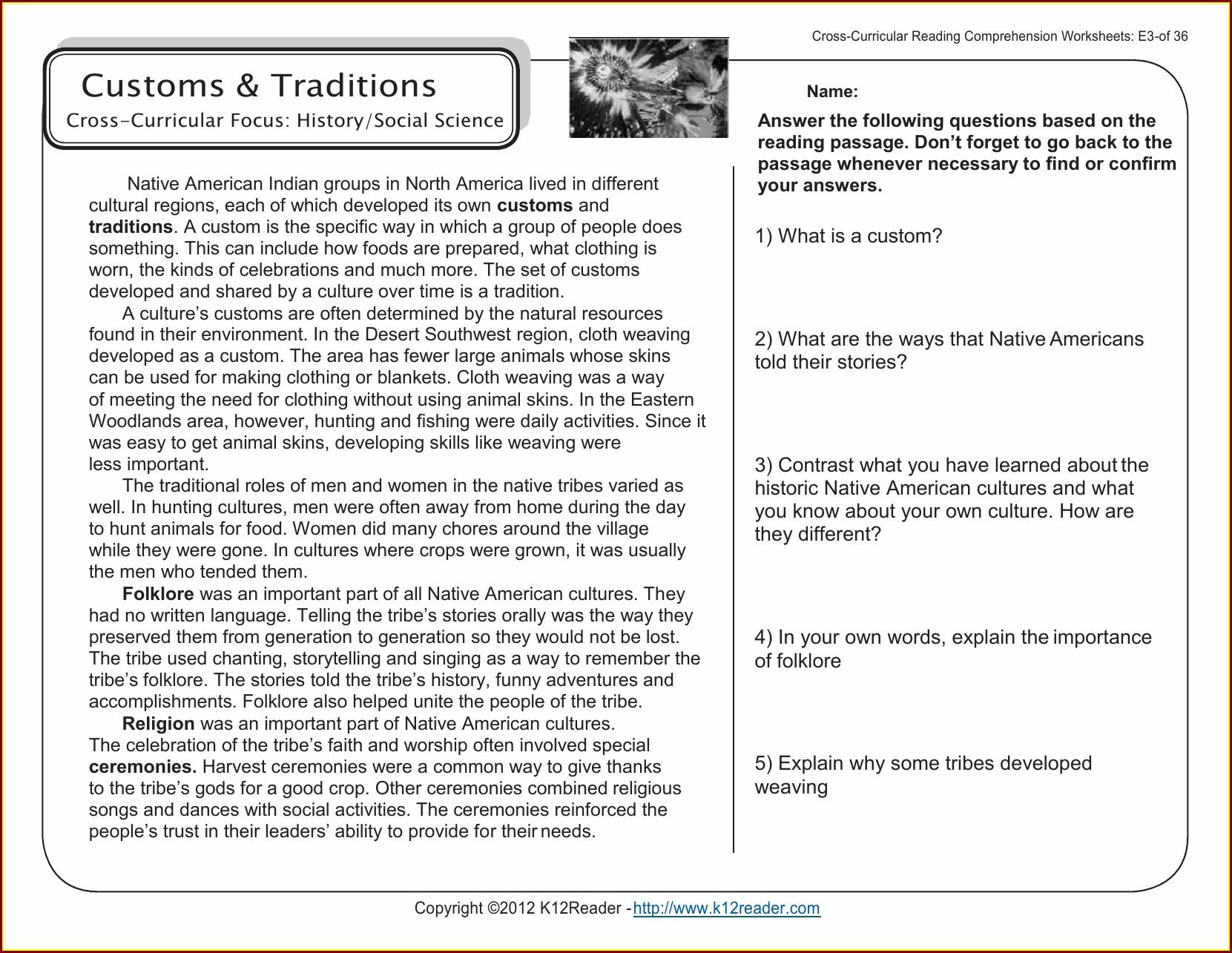 Printable Comprehension Worksheet Grade 6