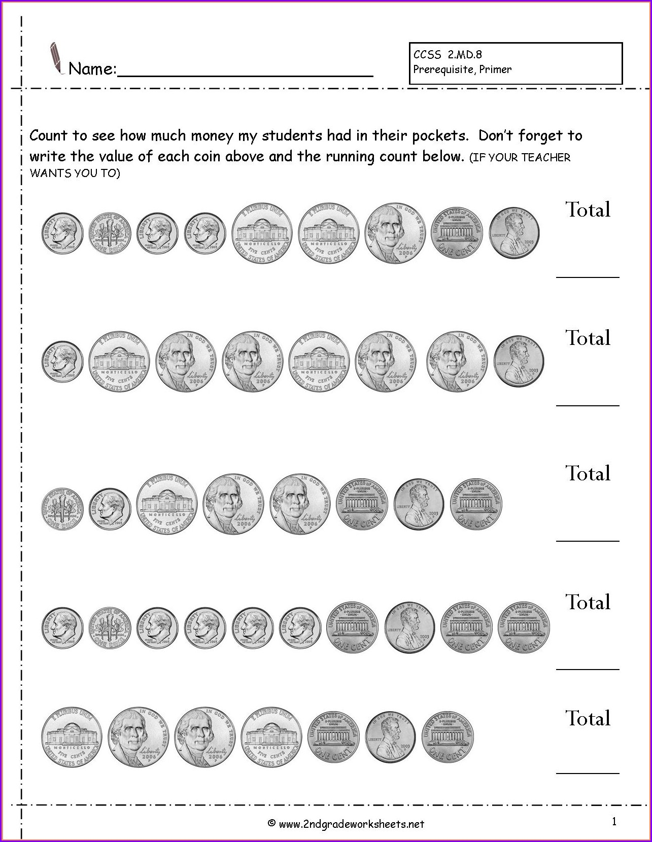 Printable Counting Money Worksheets 2nd Grade