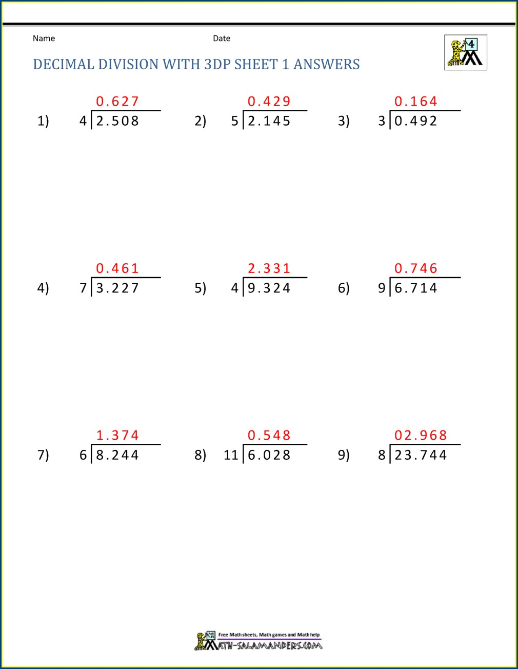 Printable Decimal Division Worksheets