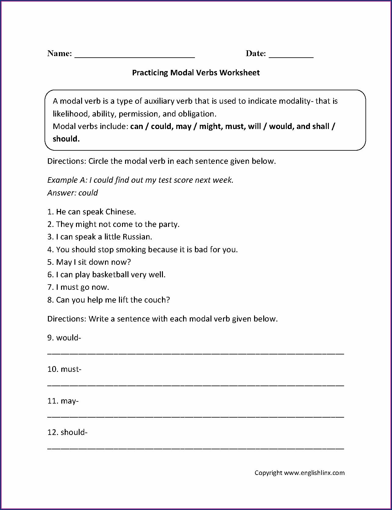 Printable English Worksheet Grade 5
