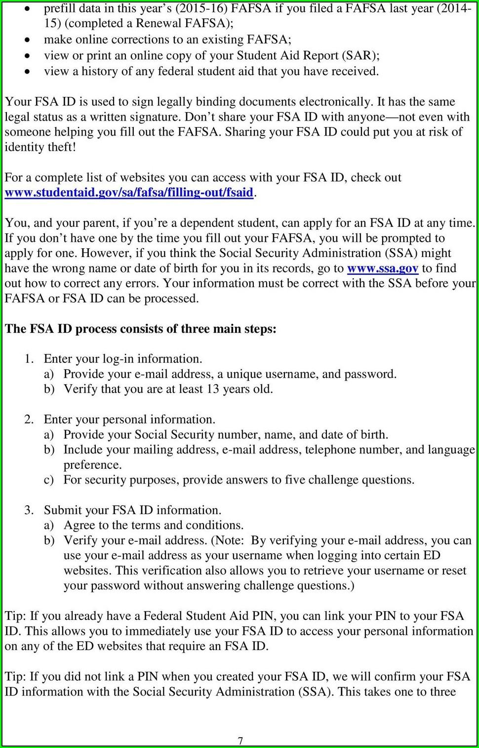 Printable Fafsa Worksheet 2015 16