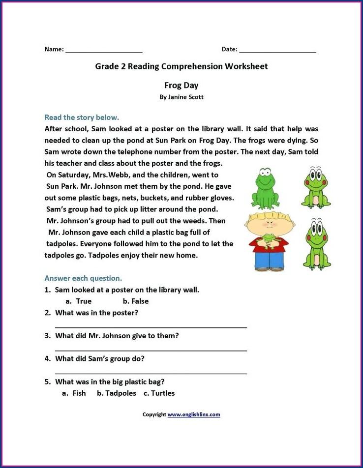 Printable Grade 2 English Worksheets Comprehension