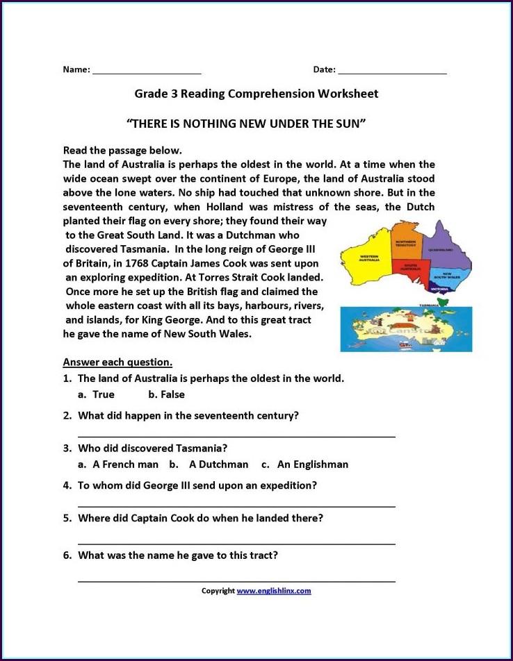 Printable Grade 3 Comprehension Worksheets Pdf
