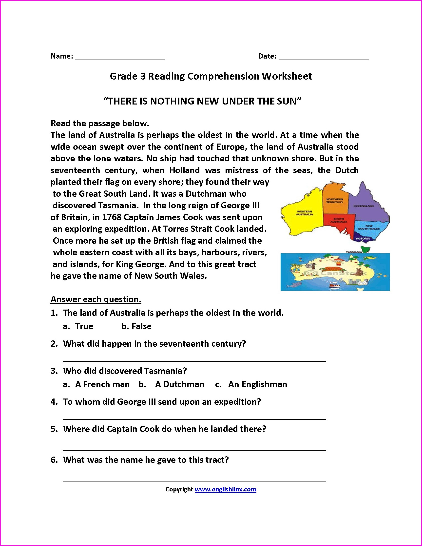 Printable Grade 5 Reading Comprehension Worksheets Pdf