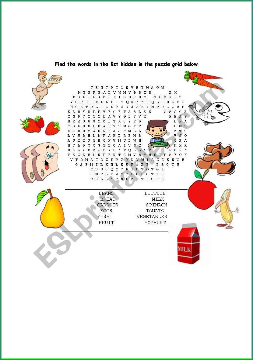 Printable Healthy Food Word Search