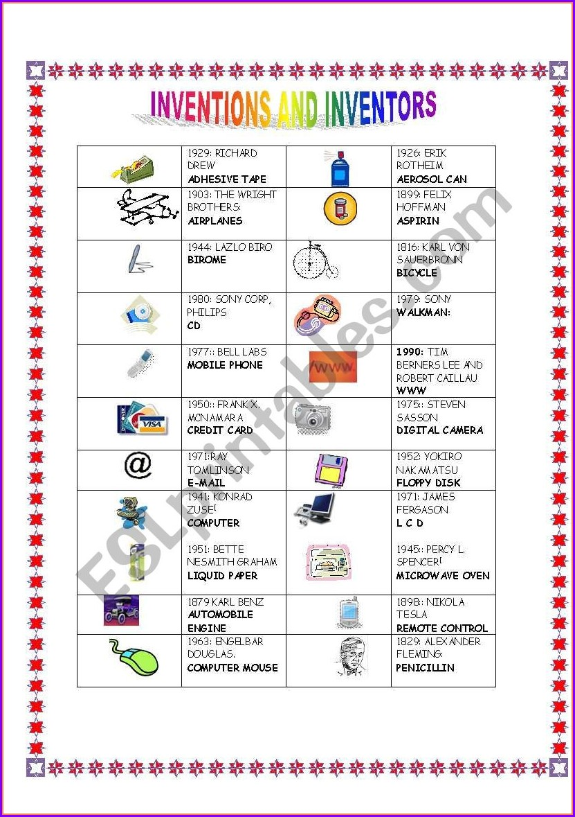 Printable Inventors Worksheet For Students