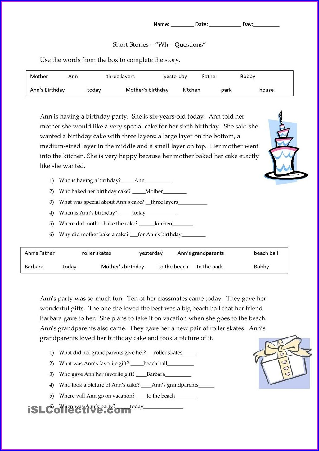 Printable Kindergarten Reading Comprehension Worksheets Pdf Free