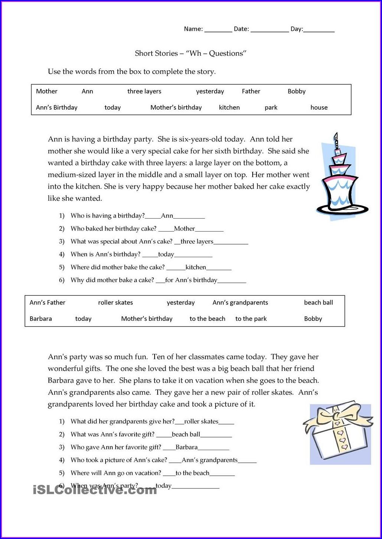 Printable Kindergarten Reading Comprehension Worksheets Pdf Free