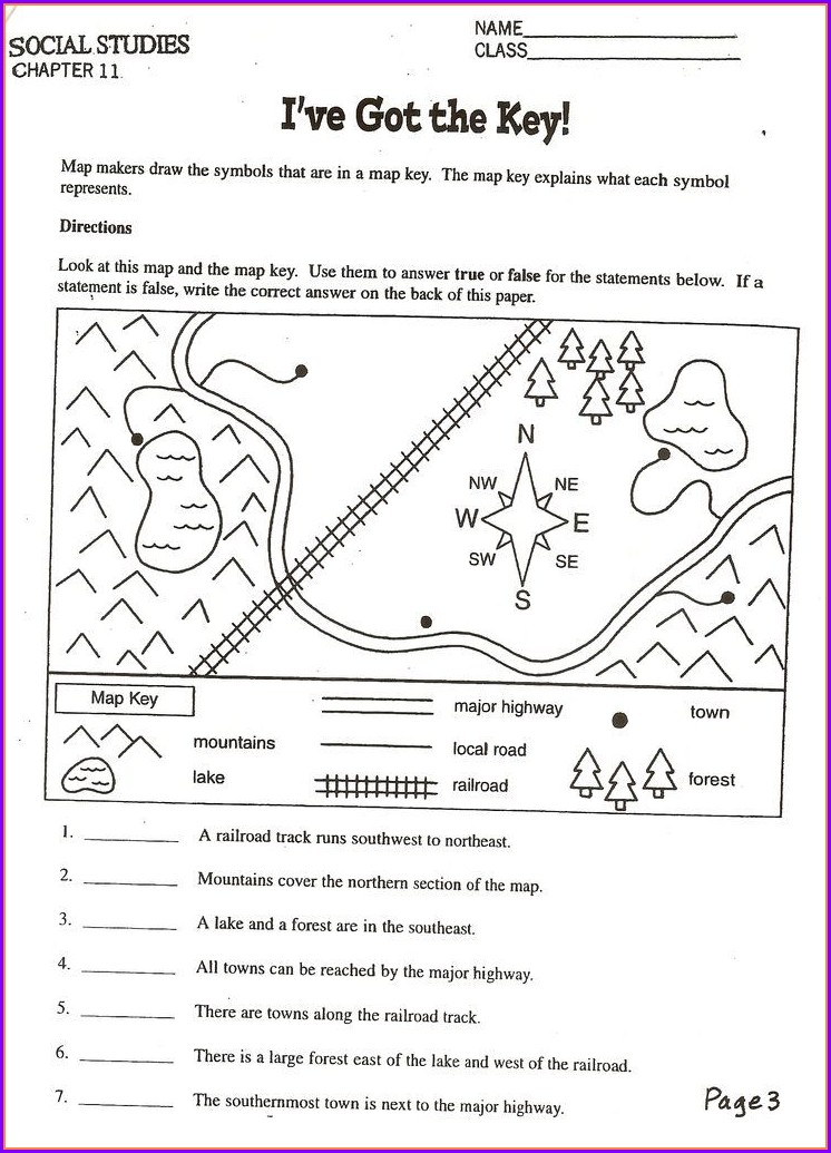 Printable Map Skills Worksheets 3rd Grade