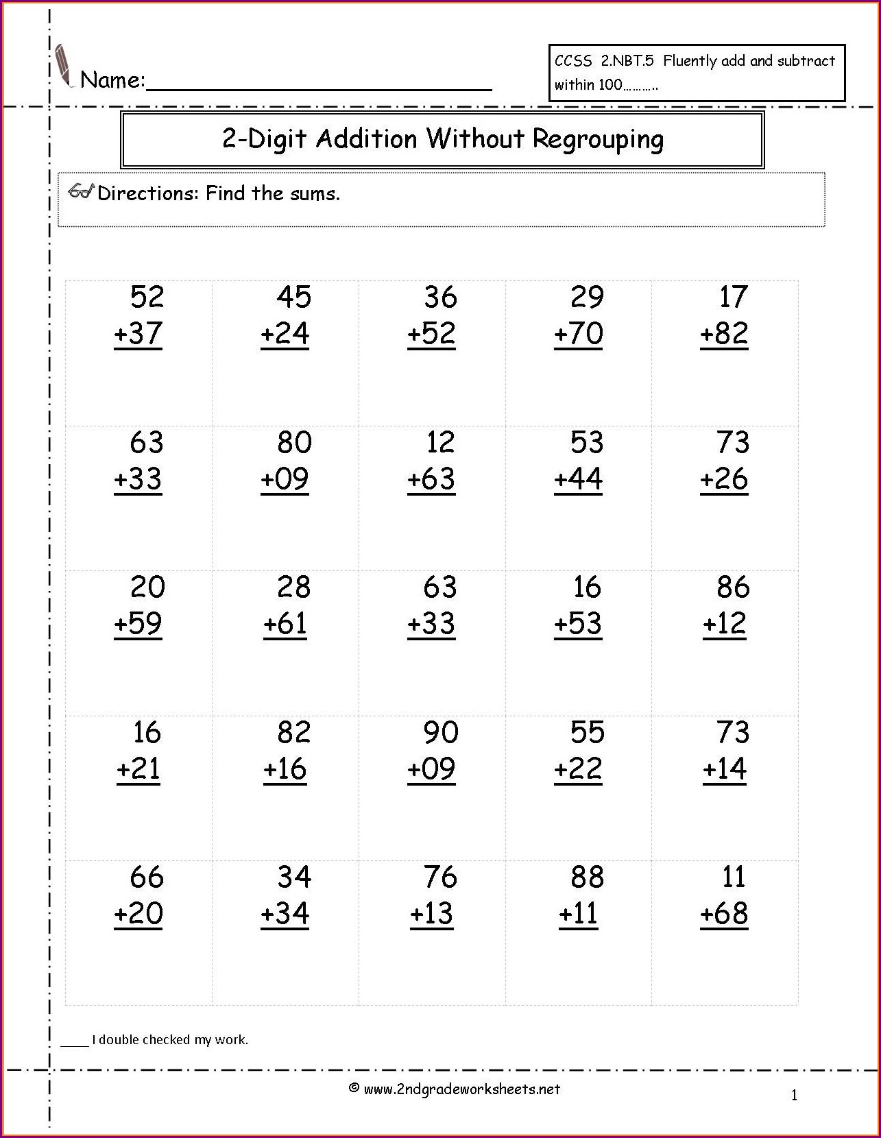 Printable Math Worksheets Addition Regrouping
