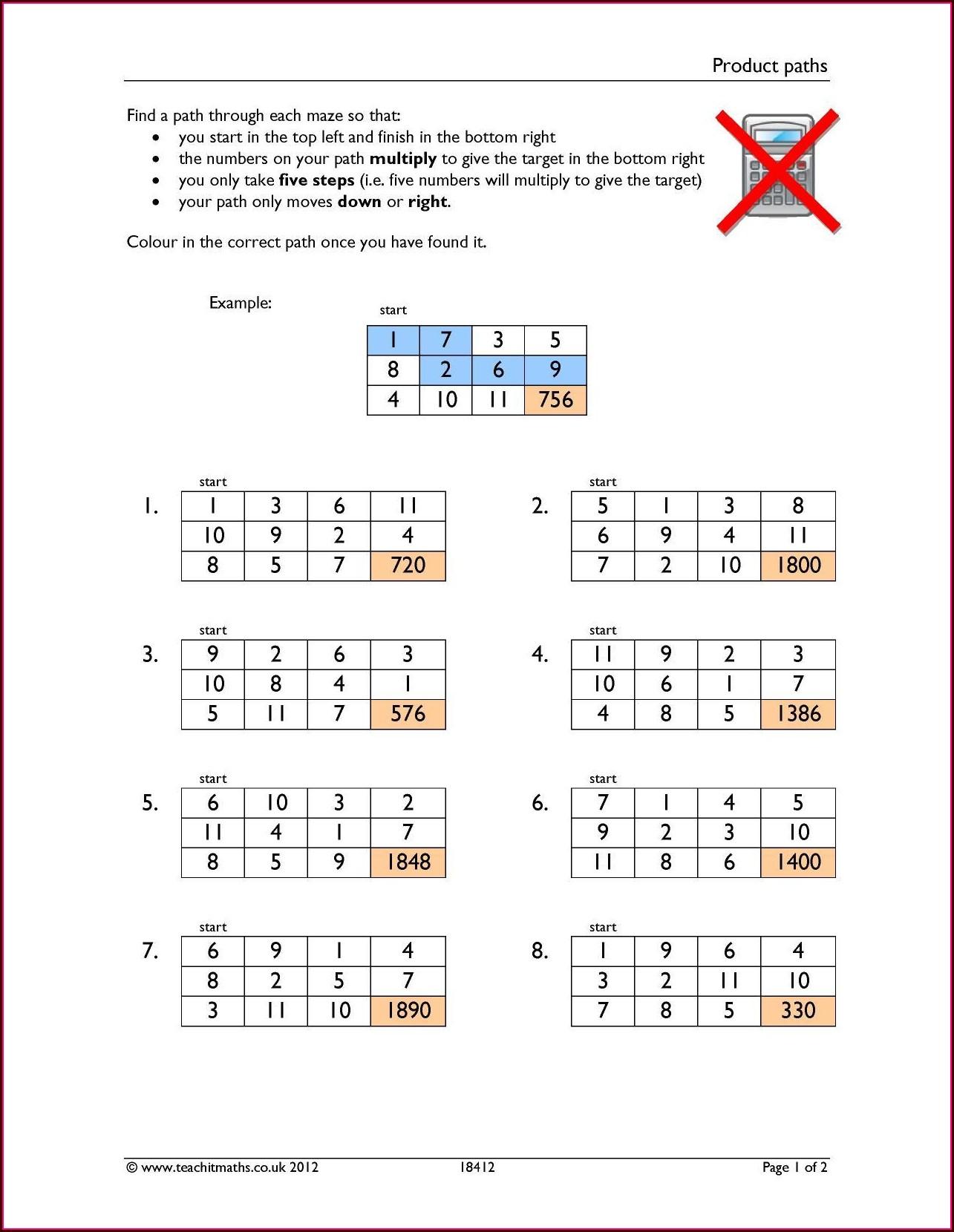 Printable Math Worksheets Negative Numbers