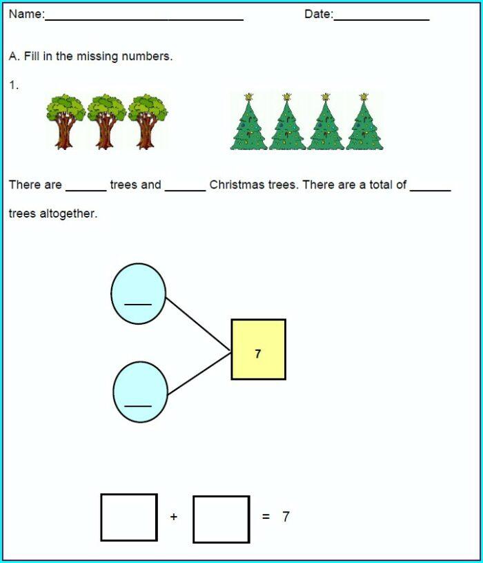 Printable Number Bonds Worksheets 1st Grade