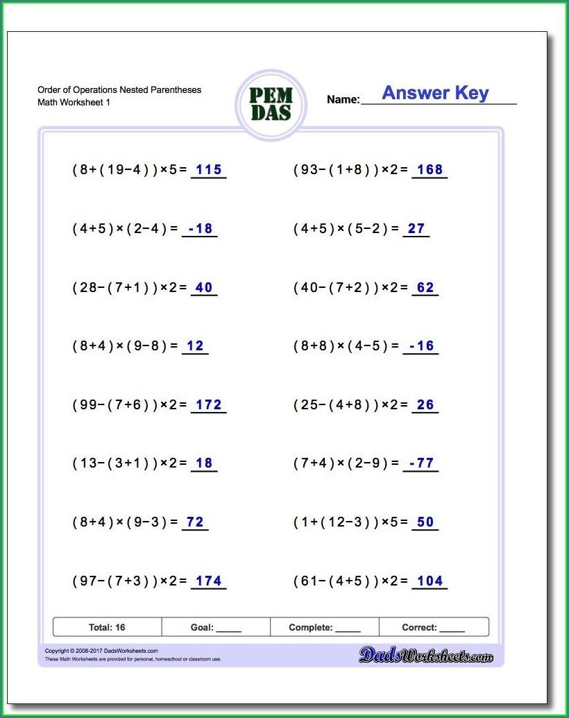 Printable Order Of Operations Worksheet 7th Grade