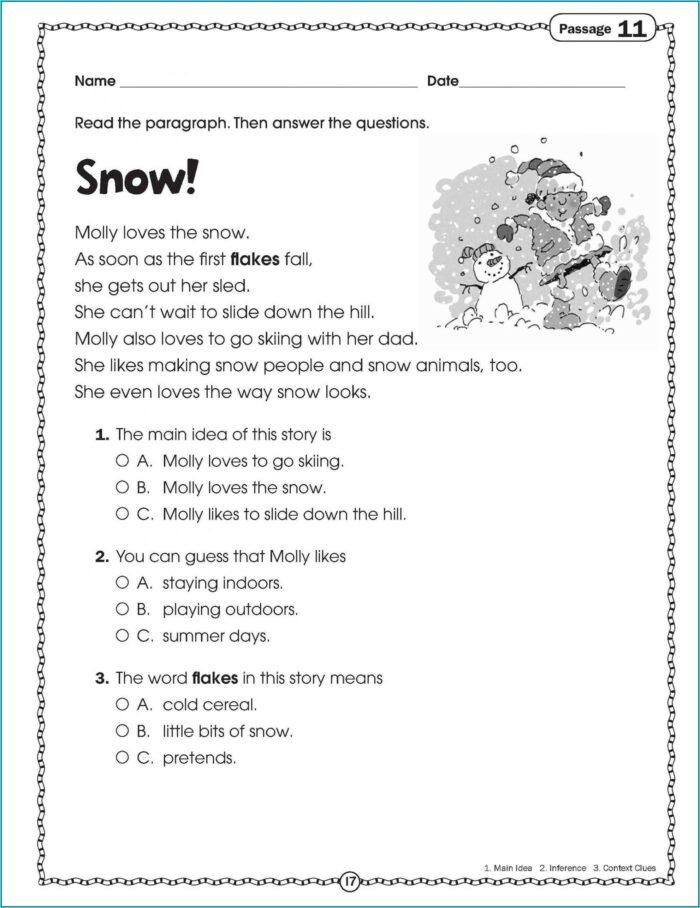 Printable Reading Comprehension Test For Grade 2