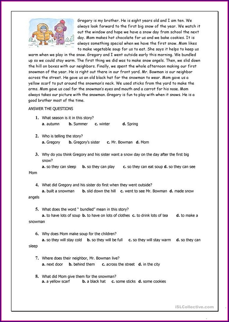 Printable Reading Comprehension Worksheets For Esl Students
