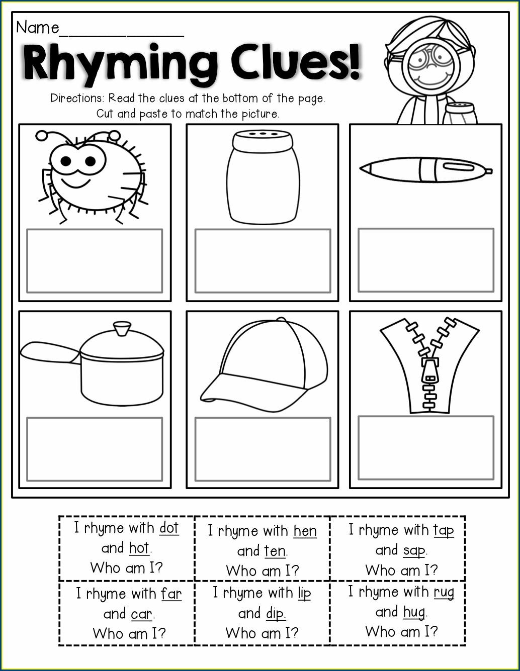 Printable Rhyming Words Worksheet For Grade 1